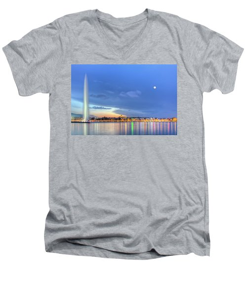 Geneva Lake With Famous Fountain, Switzerland, Hdr Men's V-Neck T-Shirt