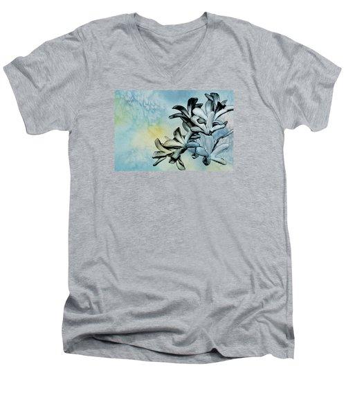 Gentle Blooms Men's V-Neck T-Shirt by Manjot Singh Sachdeva