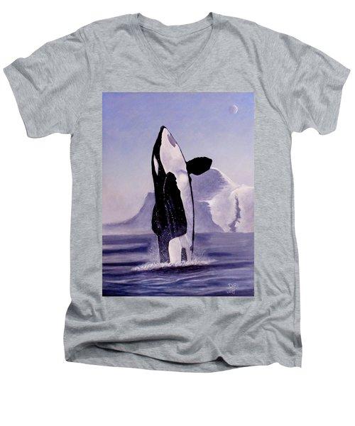 Gentle Giant Men's V-Neck T-Shirt by Dan Wagner