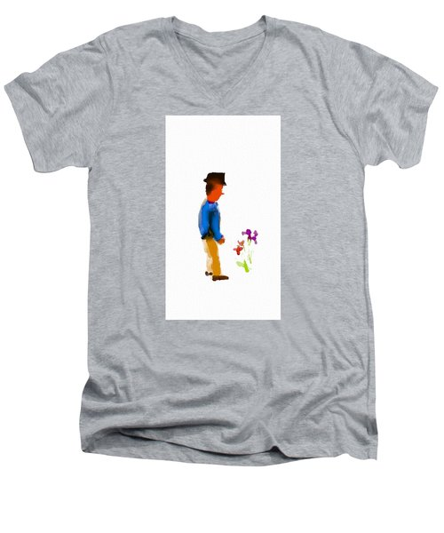 Gentleman Stops To Smell The Flowers Men's V-Neck T-Shirt by Frank Bright
