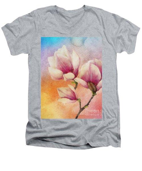 Men's V-Neck T-Shirt featuring the digital art Gentleness by Klara Acel
