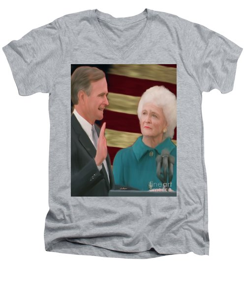 George Hw Bush Inauguration  Men's V-Neck T-Shirt by Jack Bunds