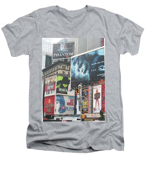 George M Men's V-Neck T-Shirt by David Jaffa
