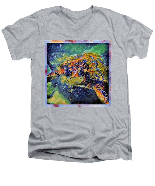 Men's V-Neck T-Shirt featuring the painting George The Turtle by Erika Swartzkopf