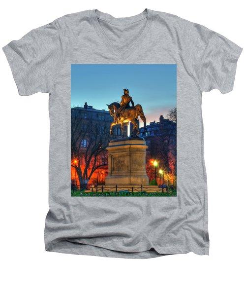 Men's V-Neck T-Shirt featuring the photograph George Washington Statue In Boston Public Garden by Joann Vitali