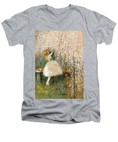Georges Picard French 1857 1946 Romance Under The Blossom Tree Men's V-Neck T-Shirt