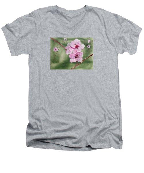 Georgia Peach Blossoms Men's V-Neck T-Shirt