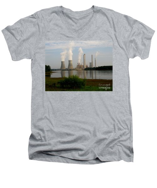 Georgia Power Plant Men's V-Neck T-Shirt by Donna Brown