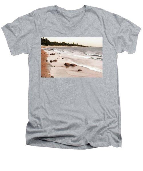 Georgian Bay Beach Men's V-Neck T-Shirt by Kenneth M  Kirsch