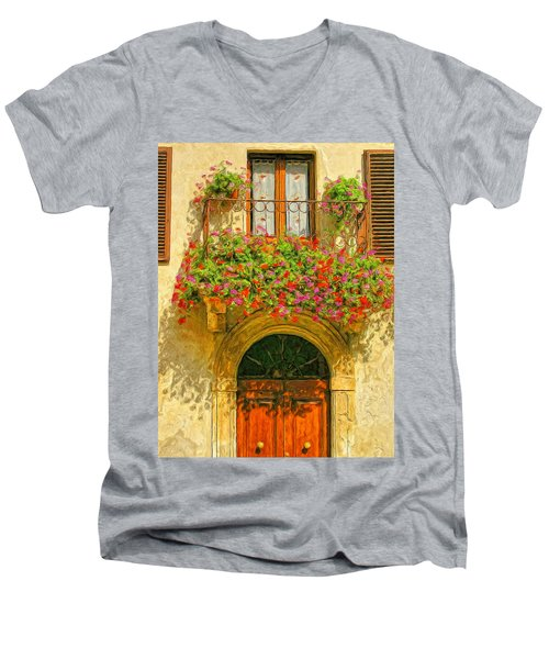 Gerani Coloriti Men's V-Neck T-Shirt by Dominic Piperata