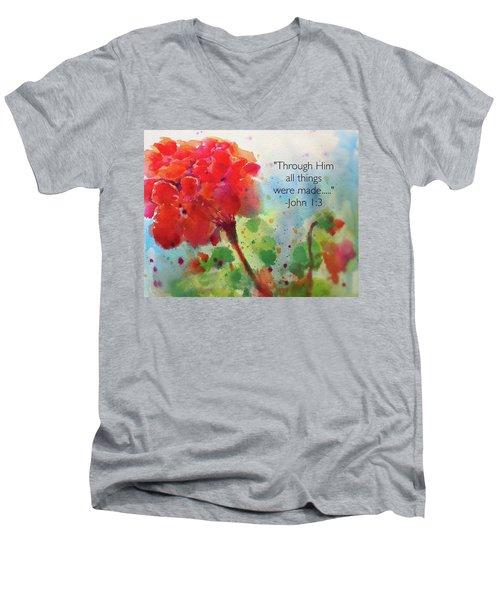 Geranium Praises Men's V-Neck T-Shirt