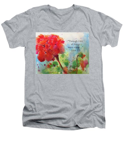 Geranium Praises Men's V-Neck T-Shirt