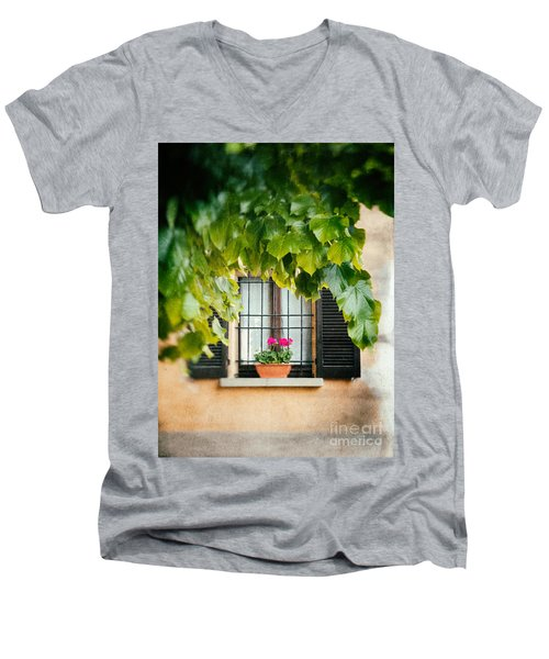 Men's V-Neck T-Shirt featuring the photograph Geraniums On Windowsill by Silvia Ganora