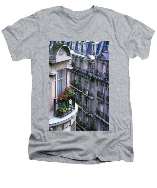 Geraniums - Paris Men's V-Neck T-Shirt