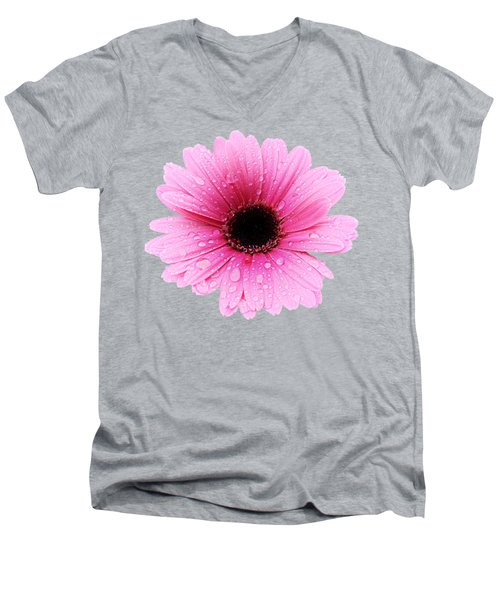 Gerbera Pink - Daisy - Up Close Men's V-Neck T-Shirt