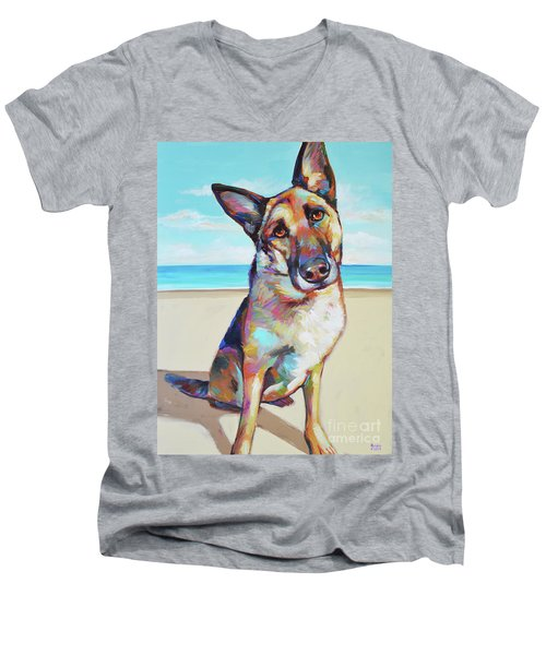 German Shepard On The Beach Men's V-Neck T-Shirt