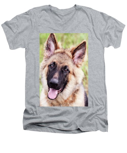 German Shepherd Dog Men's V-Neck T-Shirt by Stephanie Frey