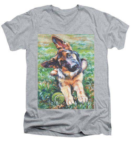 German Shepherd Pup With Ball Men's V-Neck T-Shirt