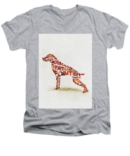 German Shorthaired Pointer Watercolor Painting / Typographic Art Men's V-Neck T-Shirt