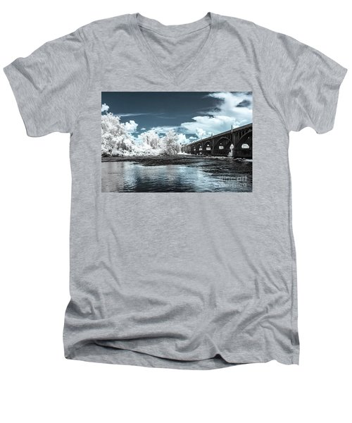 Gervais St. Bridge-infrared Men's V-Neck T-Shirt