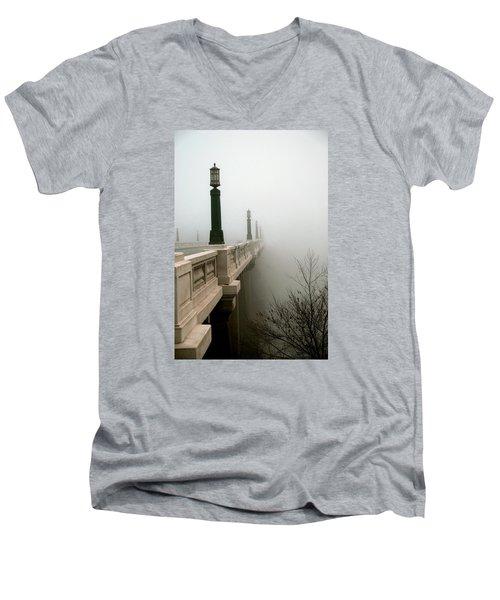 Gervais Street Bridge Men's V-Neck T-Shirt by Skip Willits