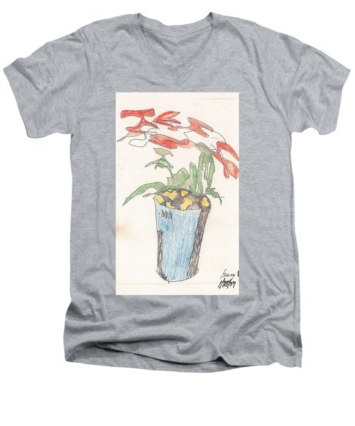 Men's V-Neck T-Shirt featuring the drawing Gesture Drawing Of Poinsettia by Rod Ismay