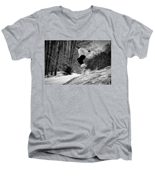Men's V-Neck T-Shirt featuring the photograph Getting Air On The Snowboard by David Patterson