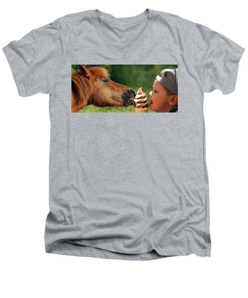Pals - Getting Their Licks In Men's V-Neck T-Shirt by I'ina Van Lawick