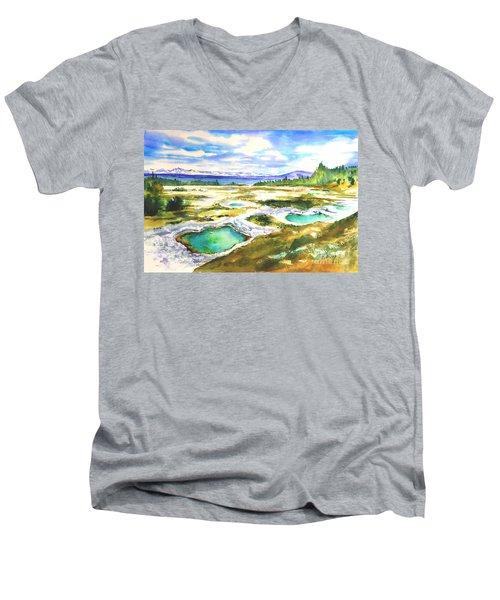 Geyser Basin, Yellowstone Men's V-Neck T-Shirt