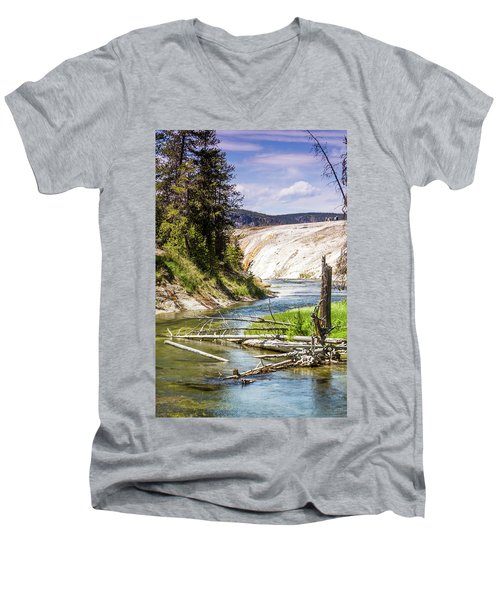 Men's V-Neck T-Shirt featuring the photograph Geyser Stream by Dawn Romine