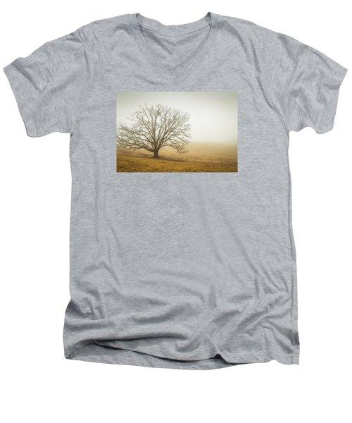 Tree In Fog - Blue Ridge Parkway Men's V-Neck T-Shirt