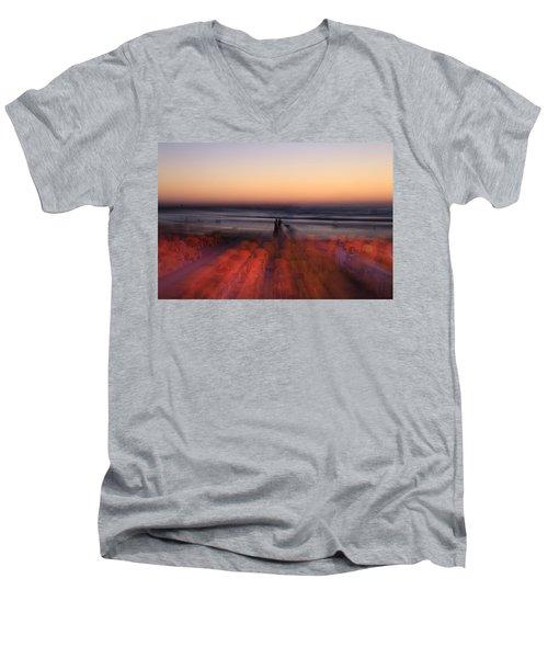 Ghost On A Beach. Men's V-Neck T-Shirt