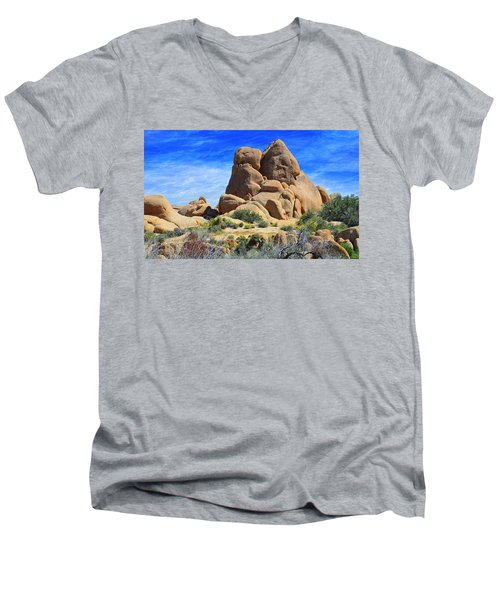Men's V-Neck T-Shirt featuring the photograph Ghost Rock - Joshua Tree National Park by Glenn McCarthy Art and Photography