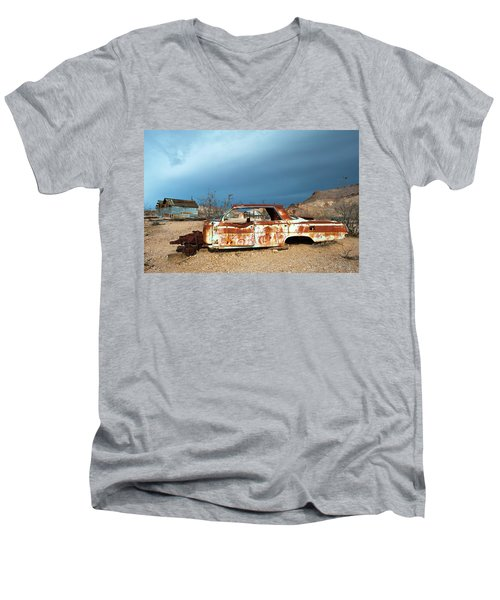 Men's V-Neck T-Shirt featuring the photograph Ghost Town Old Car by Catherine Lau