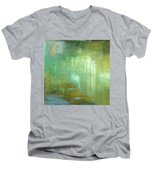 Men's V-Neck T-Shirt featuring the painting Ghosts In The Water by Michal Mitak Mahgerefteh