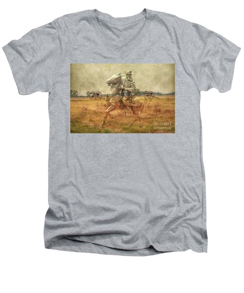 Men's V-Neck T-Shirt featuring the digital art Ghosts Of Gettysburg II by Randy Steele