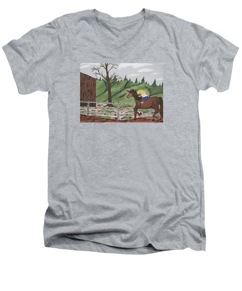 Men's V-Neck T-Shirt featuring the painting Gianna Riding  Bareback by Jeffrey Koss
