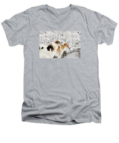 giant Borzoi hounds in winter Men's V-Neck T-Shirt