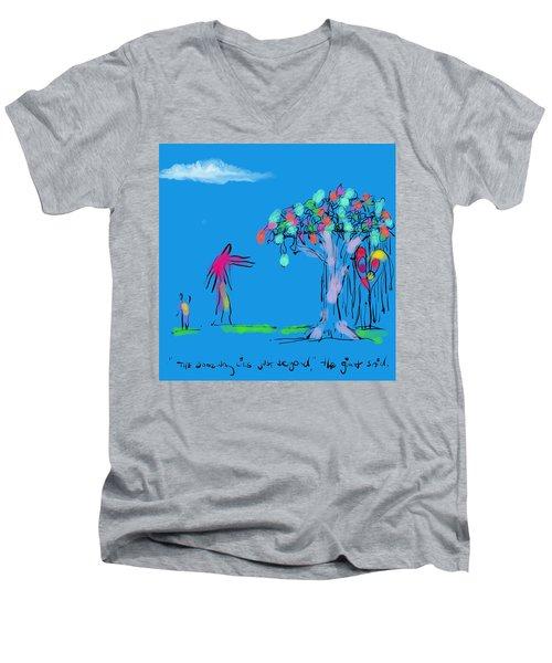 Giant, Boy, And Doorway Men's V-Neck T-Shirt