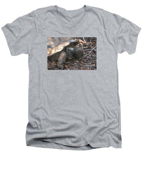 Giant Tortoise At Urbina Bay On Isabela Island  Galapagos Islands Men's V-Neck T-Shirt