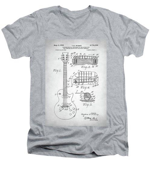 Gibson Les Paul Electric Guitar Patent Men's V-Neck T-Shirt by Taylan Apukovska