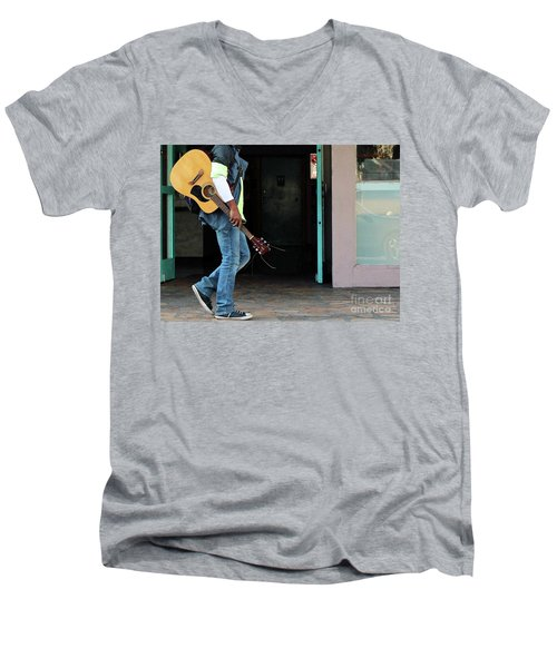 Men's V-Neck T-Shirt featuring the photograph Gig Less by Joe Jake Pratt