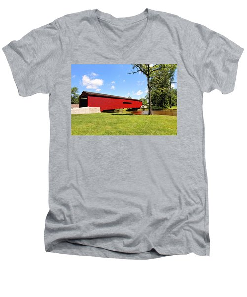 Gilpin's Falls Covered Bridge Men's V-Neck T-Shirt by Trina  Ansel