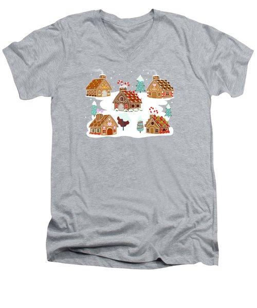 Gingerbread Village Men's V-Neck T-Shirt