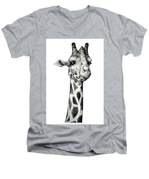 Men's V-Neck T-Shirt featuring the drawing Giraffe by Heidi Kriel