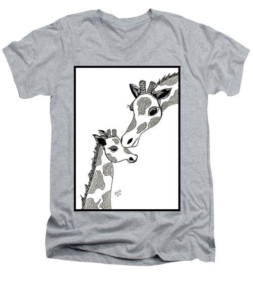 Giraffe Mom And Baby Men's V-Neck T-Shirt