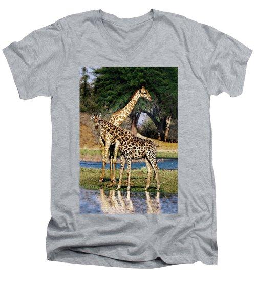 Giraffe Mother And Calf Men's V-Neck T-Shirt