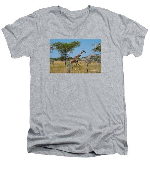 Giraffe On The Move Men's V-Neck T-Shirt by Pravine Chester