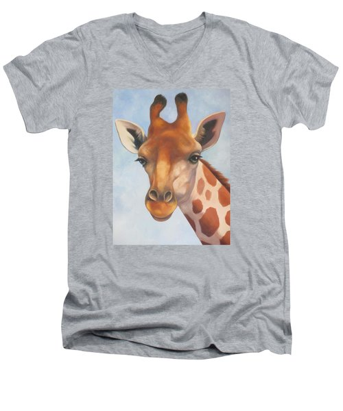 Giraffe Men's V-Neck T-Shirt by Vivien Rhyan