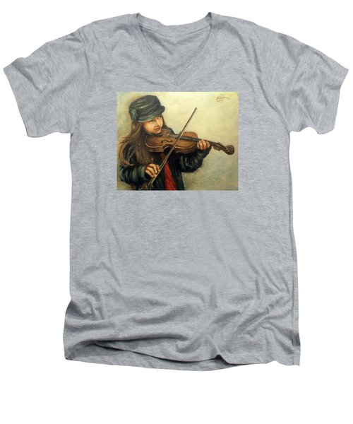 Girl And Her Violin Men's V-Neck T-Shirt by Natalia Tejera